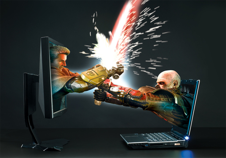 PC versus Laptop - colorful, laptop, lights, abstract, pc, battle, 3d, popular, fantasy