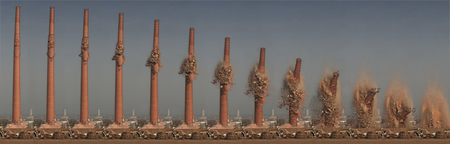 demolition - demolition, smokestack, collapse, timelapse
