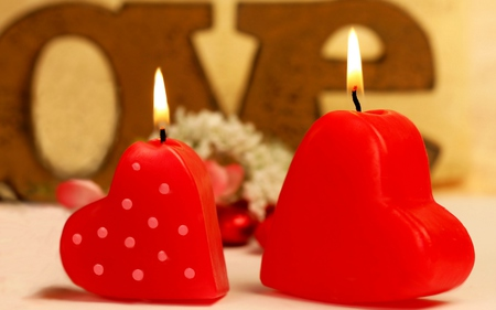 Candles - two candles, beautiful, forever, pretty, romantic, magnificent, heart shape, beauty, you and i, nice, fashion, love, red, valentines day, entertainment, together, candle, candles, deep red, lovely, hearts, believe, table design, heart, miracle, atmosphere, light, valentine, photography, feng shui, romance