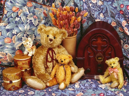 teddy tapestry - flowers, stillife, blooms, kitten, bears, radio, box