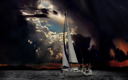 beauty of sailing - sail, water, beauty, boat