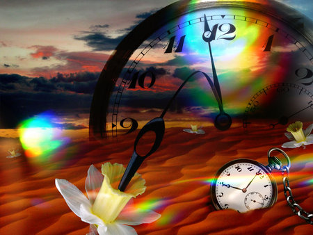 Fantasy watch - flower, colorful, 3d, abstract, lights, watch, fantasy