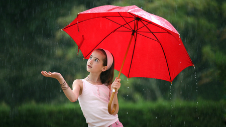 Rainy day - little girl, trees, pink, cute, rain, girl, water, red, nature, umbrella