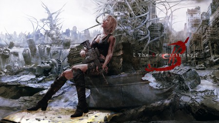 The 3rd Birthday - rubble, video games, eve, aya brea, aya, girl, boots, gun, ruins, parasite eve, games, the 3rd birthday, blonde hair, singlet, 3rd birthday, knee highs, square enix