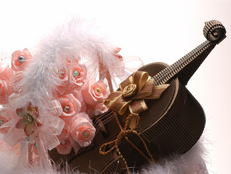 Valentine Gift - decoration, valentine, beautiful, violin box, pink roses, chocolate, gift