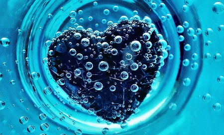 Sunk Heart - fantasy, heart, 3d, blue, nice, abstract, love, creation, water