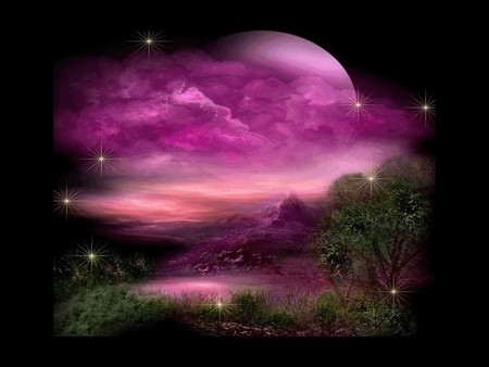 FANTASY WORLD - fantasy, world, moon, pink