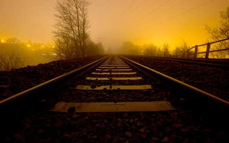 Night Train - tracks, photography, railroad, beautiful, abstract, fog, surreal, dusk