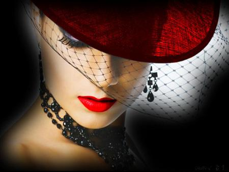 Red hat - red hat, red lips, woman, jewellry, veil, beauty