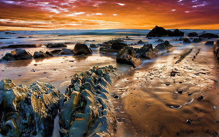 Just Awesome - sunrise, golden, beach, rocks, texture
