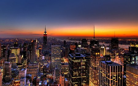 New York By Night - new york, night