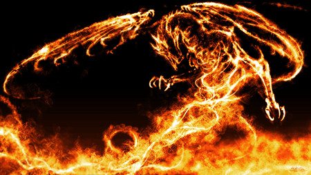 Pyro Dragon - cool, wings, orange, black, dragon, black background, flames, fire, fantasy, dragons