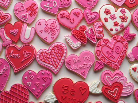 Valentine Cookies - red, pink, valentine, cookies, hearts