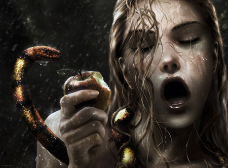 original sin - amazing, beautiful, creature, pretty, lovely, snake, woman, fantasy, apple
