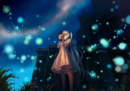 Hatsune Miku - song, flowers, latern, blue, pretty, aqua hair, girl, nice, virtual, awesome, singer, white dress, green, program, cute, idol, light, clouds, anime girl, hatsune, music, vocaloid, cool, glow, beautiful, hatsune miku, beauty, stars, anime, diva, white, cathedral, aqua eyes, miku, black, aqua, sky, vocaloids, buildings, blue skiy, white clouds, twintail, dress