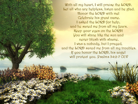 I WILL PRAISE - sky, abstract, scripture, grass, tree