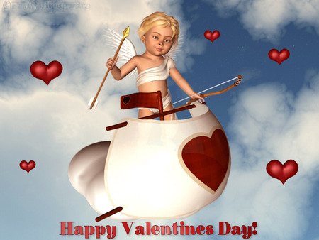 Cupid flying - angel, heaven, cupid, love, valentines, heart
