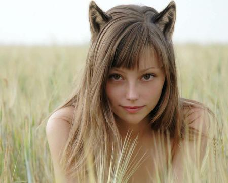 real cat woman - funny, green, ears, woman, cat, cute, grass, sexy