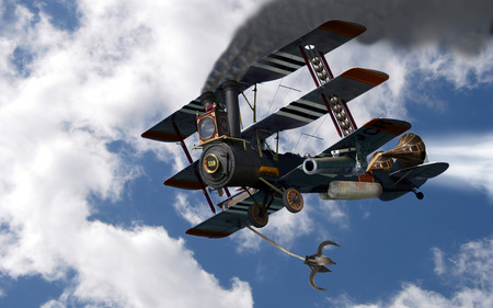 Steampunk Tri-Plane - wings, abstract, boiler, artwork, tri-plane, wheels, cannon, grapple, smoke-stacks, steam, fantasy