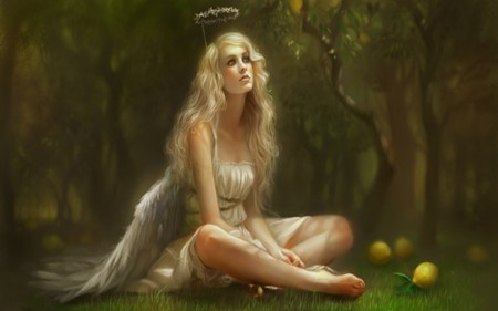 GOLDEN ANGEL - green, wings, trees, angel, lemons, yellow, golden, leaves, female, halo, woman, grass, forest, fantasy, dress, blonde