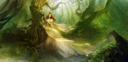QUEEN OF THE FOREST - female, trees, queen, forest, fantasy