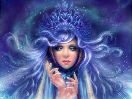 Lady Winter - wallpaper, lady, blue, winter, fantasy, beauty