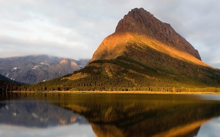 golden mountain - water, lake, clouds, sky, reflection, mountain, nature
