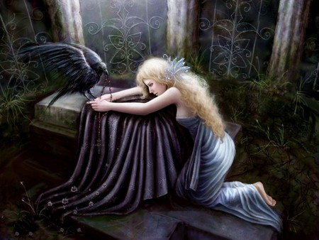 RAVEN AND BLOND FANTASY GIRL - fantasy, blond, raven, gothic, girl