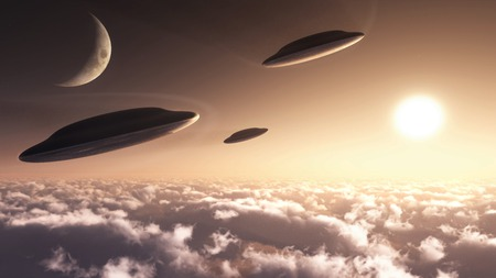 UFO formation - ufo, formation, alien, concept, sci-fi, ship, technology, craft, space, flying, speedpaint