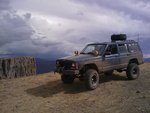 2000 Jeep Cherokee on a cliff