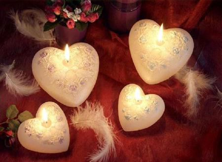 Candles Hearts - rose, flowers, candle, beautiful, lovely, romantic, heart, photography, roses, feather, red, feathers, romance