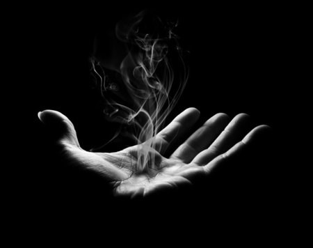 Vanishing Smoke - black and white, hand, photography, abstract, smoke, vanish