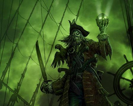 Pirate With Skull !!! - green, pirate lord, abstract, skull, background, fantasy, pirate