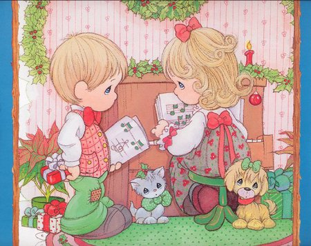 11 precious moments - cute, puppy, christmas, dog, children, kitten, cat, holiday, sweet, gift, precious moments