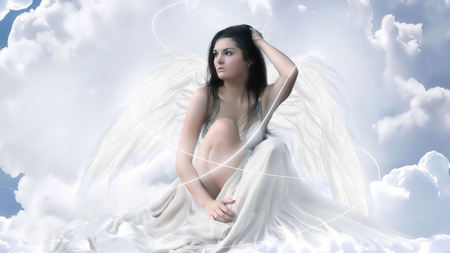 My Guardian Angel - wings, guardian angel, beautiful, angel, sky, brunette, female, clouds, white, heaven
