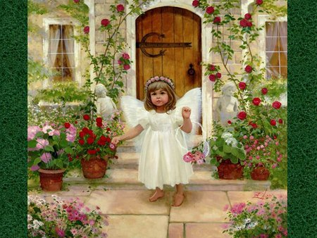 Little angel - girl, flower, door, angel