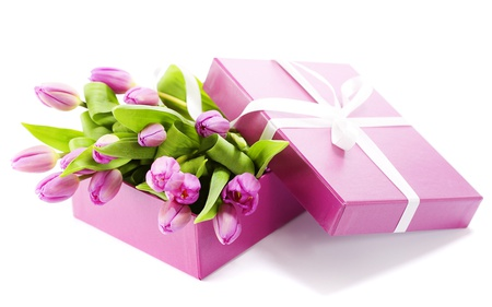 Lovely Tulips - flowers, spring, pink tulip, beautiful, pink, ribbon, pretty, friends, beauty, surprise, for you, purple, tulip, beautiful tulips, gift, with love, present, colors, wonderful, lovely, tulips, special, bow, pink tulips, photography, still life, tenderness, nature, bouquet, sweet, box