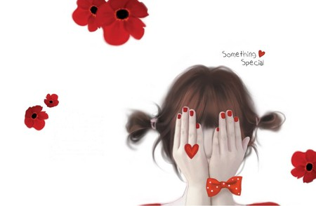 Something Special - flowers, beautiful, hand, abstract, red flowers, pretty, romantic, beauty, girl, hands, flower, woman, white, poppy, love, red, lovely, heart, drawing, hair, sweet