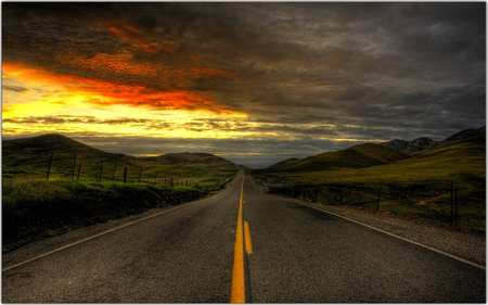 ROAD TO PARADISE - straight, plants, clouds, road, sunset, golden