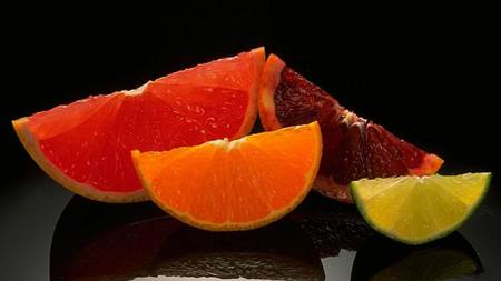 citrus - beautiful, dessert, reflection, fruits, 3d, colors