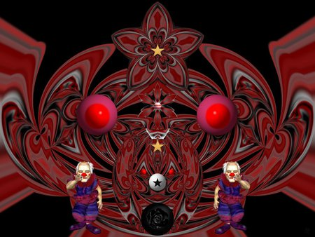 Mean Clowns - eye candy, collage, 3d, abstract, fractal