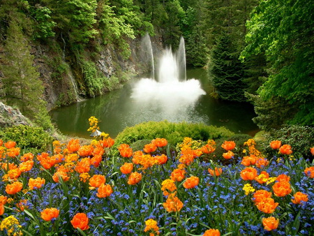 Perfect place - water, blue flowers, plants, waterfalls, yellow flowers, perfect place