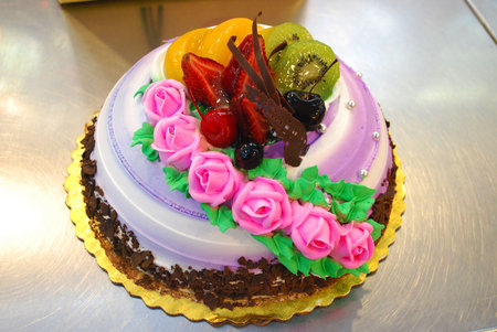 flower cake - fantastic, flower, cake, pink, color, art
