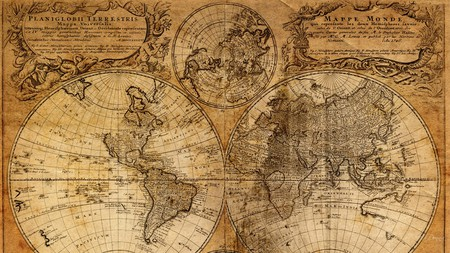 Old Map 1 - map, world, old, vintage, antique, firefox persona