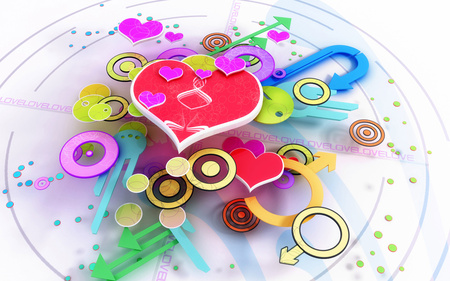 hearts - 3d, abstract, color, love, valentines day, heart