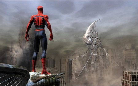 Spiderman - movie, city, spiderman, fantasy
