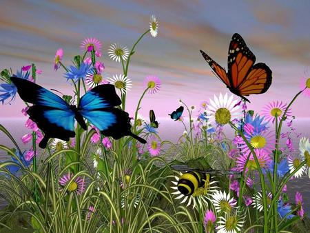 Beautiful Butterflies - flowers, spring, animals, color, butterfly, butterflies, 3d, two, nature