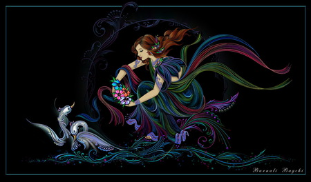 Leda - swan, wallpaper, mythology, leda, abstract, zeus, swans, fantasy
