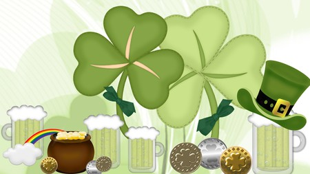 Luck of the Irsh - irish, green beer, coins, top hat, shamrocks, firefox persona, st patricks day, pot of gold, rainbow