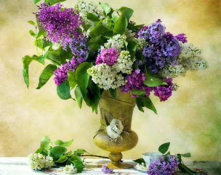 Aromatic Beauty - flowers, gold vase, still life, teacup, vase, lilacs